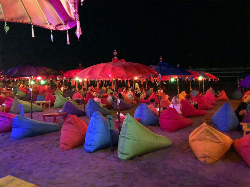 DOUBLE SIX LUXURY HOTEL review beach at night bean bags colours